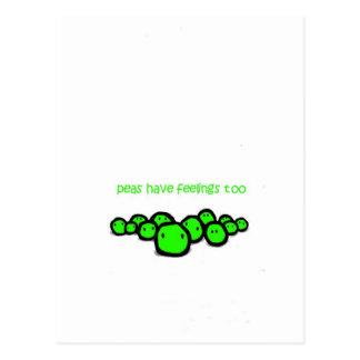 Cartão Postal as ervilhas têm o sentimento demasiado