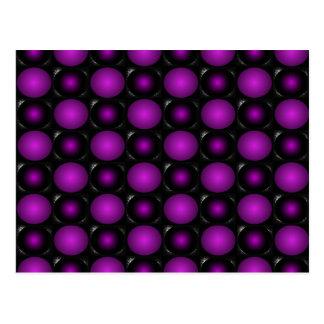 Cartão Postal As esferas pretas & roxas 3D Textured o design