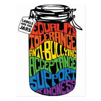 Cartão Postal As etiquetas da camisa da igualdade de LGBT são