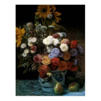 Cartão Postal As flores de Pierre-Auguste Renoir em um vaso