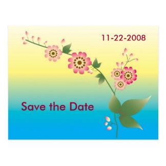 Cartão Postal As flores salvar a data