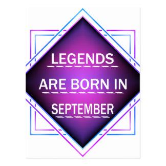 Cartão Postal As legendas são nascidas em setembro