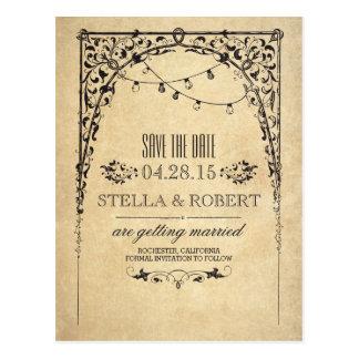 Cartão Postal As luzes da corda do vintage salvar a data