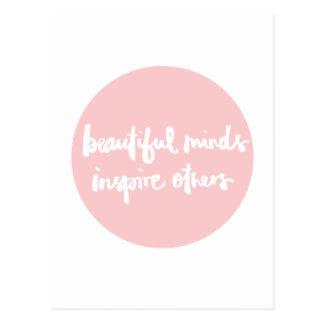 Cartão Postal As mentes bonitas inspiram pessoas das citações