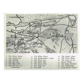 Cartão Postal As pensões de Kent, pensões aproximam o mapa de