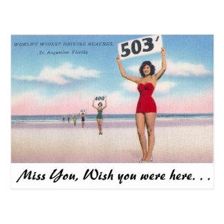 Cartão Postal As praias de condução as mais largas dos mundos