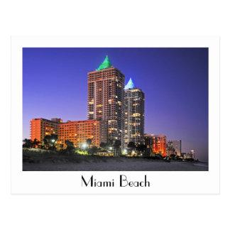 Cartão Postal As torres azuis e verdes do diamante, Miami Beach