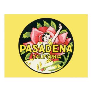 Cartão Postal As viagens vintage, Pasadena Califórnia, senhora e