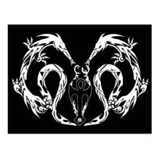Cartão Postal Asas tribais do dragão do corpo