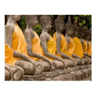 Cartão Postal Ásia, Tailândia, Sião, Buddhas em Ayutthaya