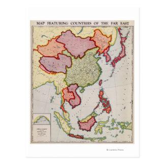 Cartão Postal AsiaPanoramic do leste MapEast Ásia