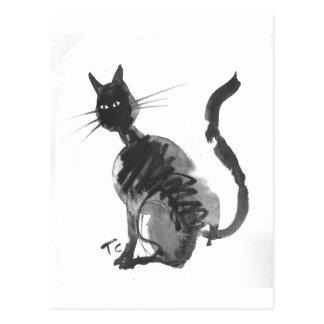 Cartão Postal assento do gato preto