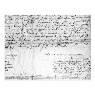 Cartão Postal Assinatura de William Shakespeare, 1616