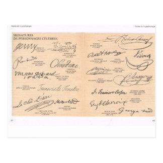 Cartão Postal Assinaturas do vintage de pessoas famosas