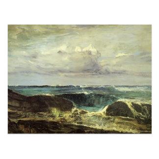 Cartão Postal Assobiador de James McNeill a onda azul Biarritz