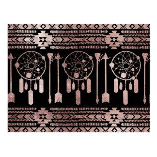 Cartão Postal Asteca tribal do ouro cor-de-rosa de Dreamcatcher