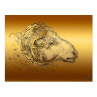 Cartão Postal Astrologia chinesa ocidental da ram dourada do