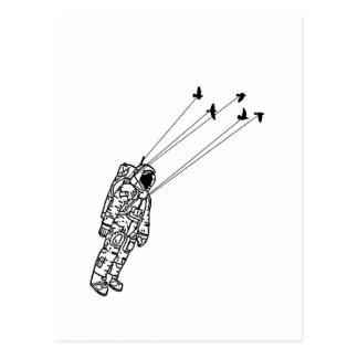 Cartão Postal Astronauta levado por pássaros
