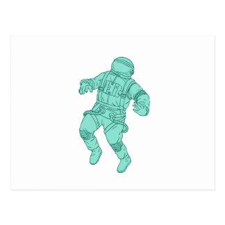 Cartão Postal Astronauta que flutua no desenho do espaço