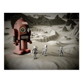 Cartão Postal Astronautas Postca denominado retro do robô e do