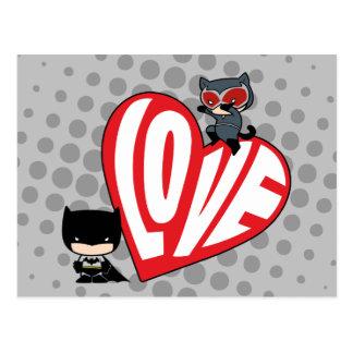 Cartão Postal Ataque súbito da mulher-gato de Chibi em Batman