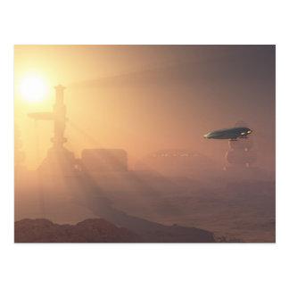 Cartão Postal Aterragem empoeirada na colônia de Marte