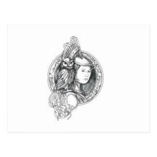 Cartão Postal Athena com a coruja no Cir do circuito eletrônico
