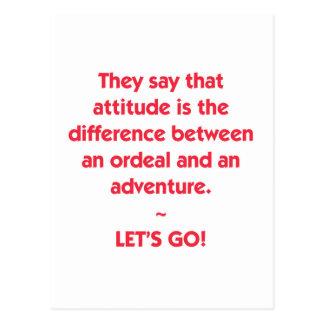 Cartão Postal Atitude - diferença entre o calvário e a aventura