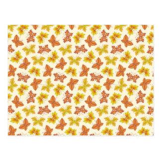 Cartão Postal Atmosfera do outono com folhas borboleta-dadas