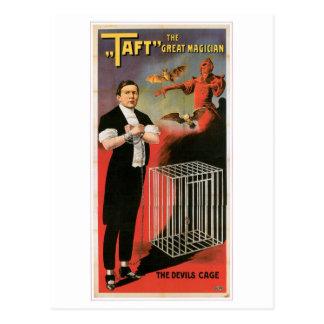 Cartão Postal Ato mágico do vintage da gaiola dos diabos do