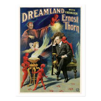 Cartão Postal Ato mágico do vintage do Dreamland do ~ do mágico