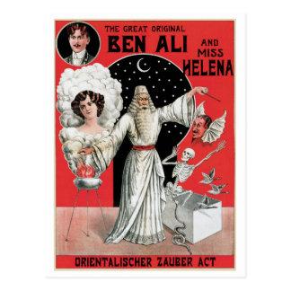 Cartão Postal Ato mágico do vintage do mágico do Illusionist do