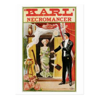 Cartão Postal Ato mágico do vintage do mágico do Necromancer do