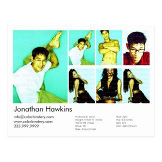 Cartão Postal ator 2-Sided & comp(s) brancos modelo do Headshot