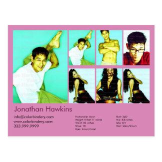 Cartão Postal ator 2-Sided & comp(s) cor-de-rosa modelo do