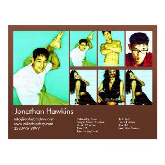 Cartão Postal ator 2-Sided & comp(s) modelo do Headshot de Brown