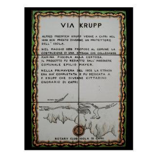 Cartão Postal através do azulejo de Krupp, Capri - Italia