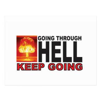 Cartão Postal atravessar vermelho o inferno mantem-se ir