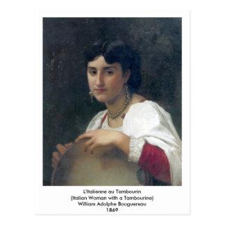 Cartão Postal Au Tambourin de Bouguereau - de L'Italienne