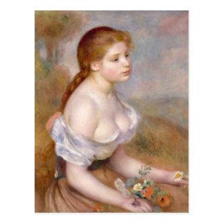Cartão Postal Auguste Renoir uma rapariga com margaridas