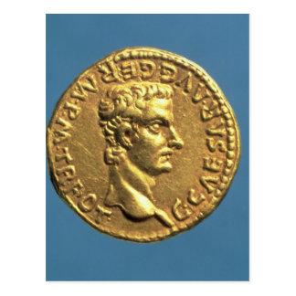 Cartão Postal Áureo de Caligula bareheaded