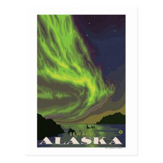 Cartão Postal Aurora boreal e orcas - Seward, Alaska