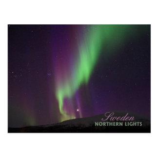 Cartão Postal Aurora boreal em Lappland, suecia