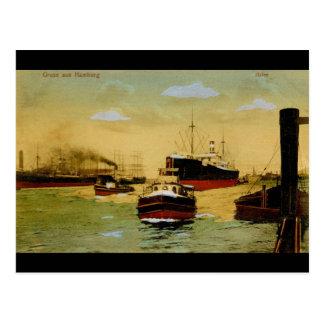 Cartão Postal Aus Hamburgo de Gruss, vintage de Hafen