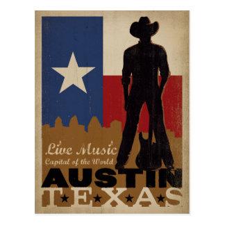 Cartão Postal Austin, vaqueiro da música ao vivo de Texas  