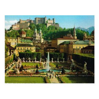 Cartão Postal Áustria, Salzburg, castelo e jardins