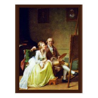 Cartão Postal Auto-Retrato com sua esposa por Juel Jens (o
