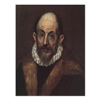 Cartão Postal Auto-retrato de El Greco da descrição sumária, D
