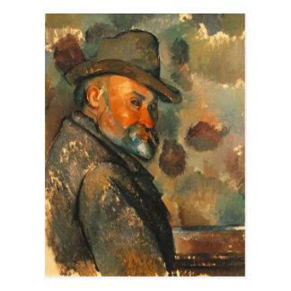 Cartão Postal Auto-Retrato de Paul Cezanne- em um chapéu de