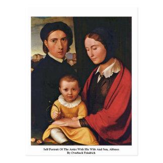 Cartão Postal Auto-Retrato do artista com seus esposa e filho